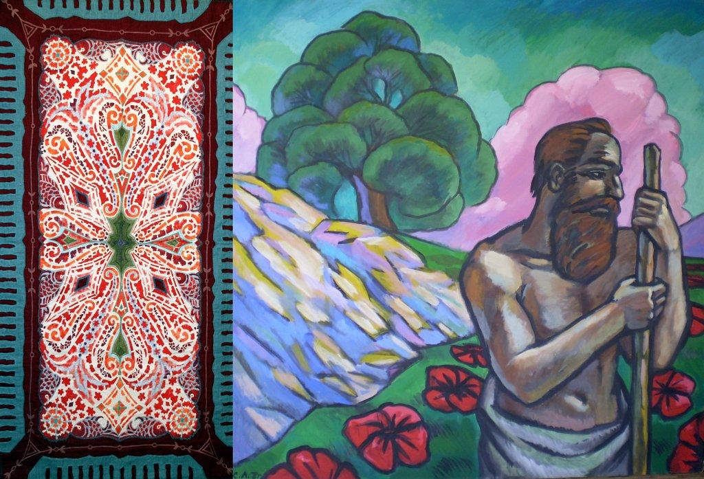 Опарина(текстиль) и  Ледков(живопись) проект ...земля и что наполняет ее